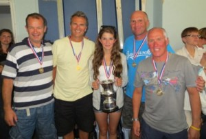 Nigel, Steve, Chloe (cox) Neil and Colin with their trophy.